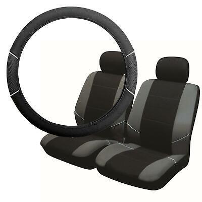 UKB4C Black & Grey Steering Wheel Cover & Front Seat Cover Set Airbag Safe