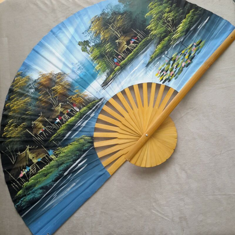 Large Hand Painted Asian Decorative Wall Fan Thailand Village