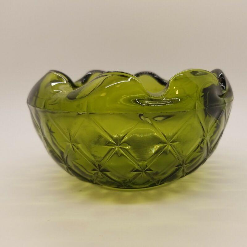 Vintage Round Green Glass Bowl w/Ruffled In Edge, Star Design, Maker Unknown