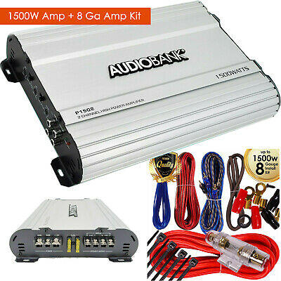 Audiobank 2 Channels 1500W Bridgedable Car Audio Stereo Ampifier + 8 GA Amp Kit