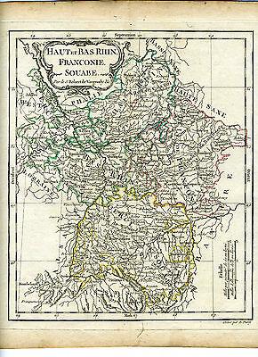1778 Genuine Antique hand colored map Germany, Rhine River basin. De Vaugondy