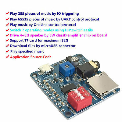 New Voice Playback Module Board Mp3 Music Player Sdtf Card For Arduino