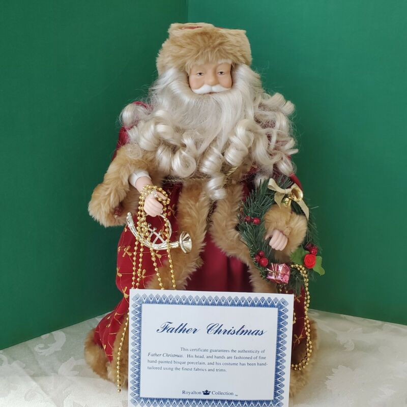 "16"" Old World Santa Father Xmas TREE TOPPER by Royalton in Orig Box COA, used"