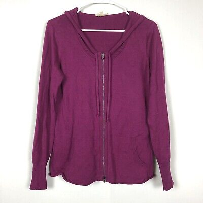 Eileen Fisher Hoodie Sweater Small Magenta Pink Organic Cotton Zip Front