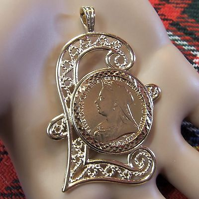 9 ct gold second hand Victorian  full sovereign mount