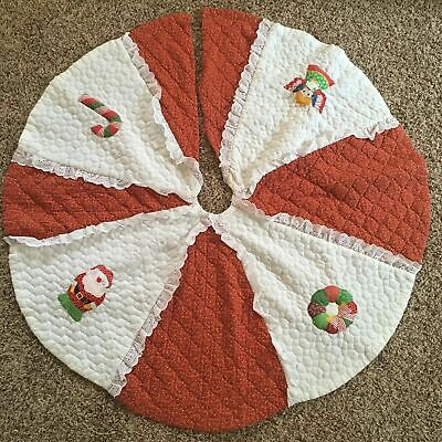 "Vintage 46"" Handmade Christmas Tree skirt quilted country red Appliqué Lace"