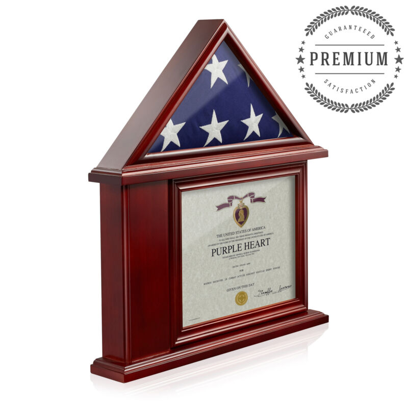 Memorial Flag Display Case Military Shadow Box, 3