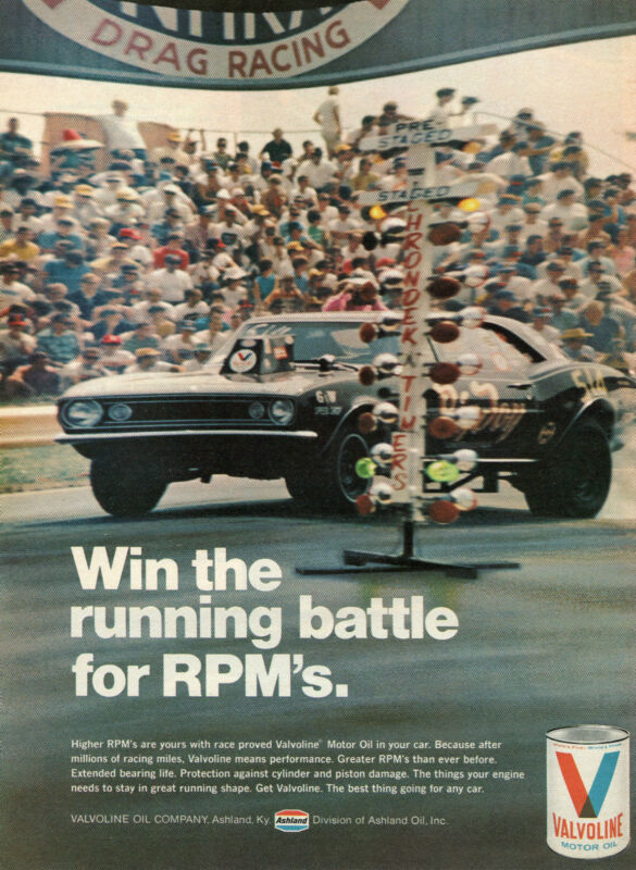 1971 Valvoline Motor Oil NHRA Drag Racing Win the Running Battle for RPM