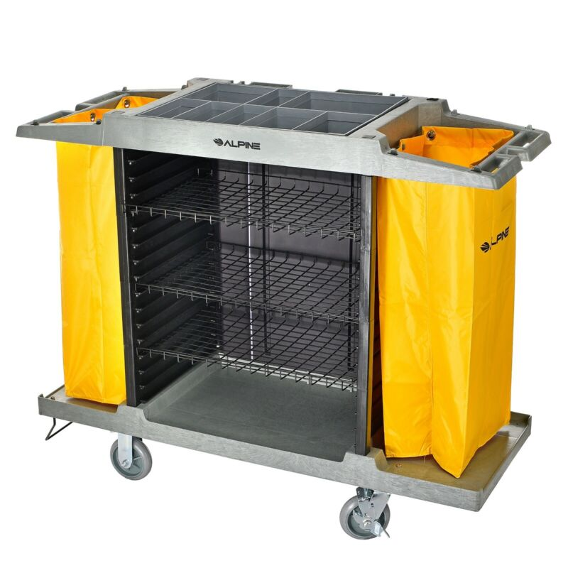 Alpine Industries 4 Shelf Janitor Platform Housekeeping Commercial Cleaning Cart