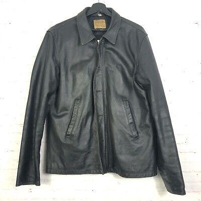 Vintage 1997 Helmut Lang Italy Black Leather Men's Coat Jacket Size 52 *FLAWS*