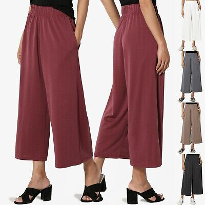Line Wide Leg Pant (TheMogan Easy Elasticated Waist Soft Culottes Seam Pocket Wide Leg Crop Pants )