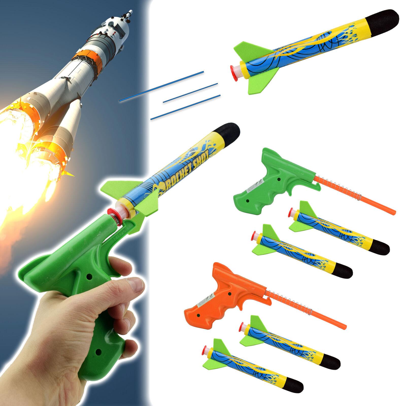 Spielzeug Rakete 2x 3 tlg Set Kinder Spielzeugrakete Raketen Abschießer Spiel