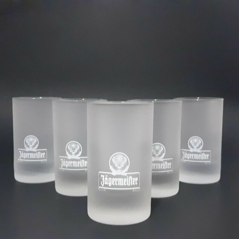 Set of 5 New Jagermeister Frosted Shot Glasses