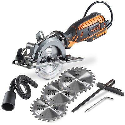VonHaus 5.8 Amp Compact Circular Saw Kit - 3500 RPM with Miter Function & Blades