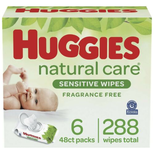 Huggies Natural Care Sensitive Baby Wipes Unscented 6 Flip Lid Packs 288 Wipes