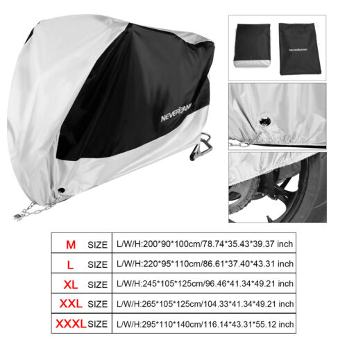 M-XXXL 190T Waterproof Motorcycle Cover Outdoor Dust Protective Fit Harley Honda