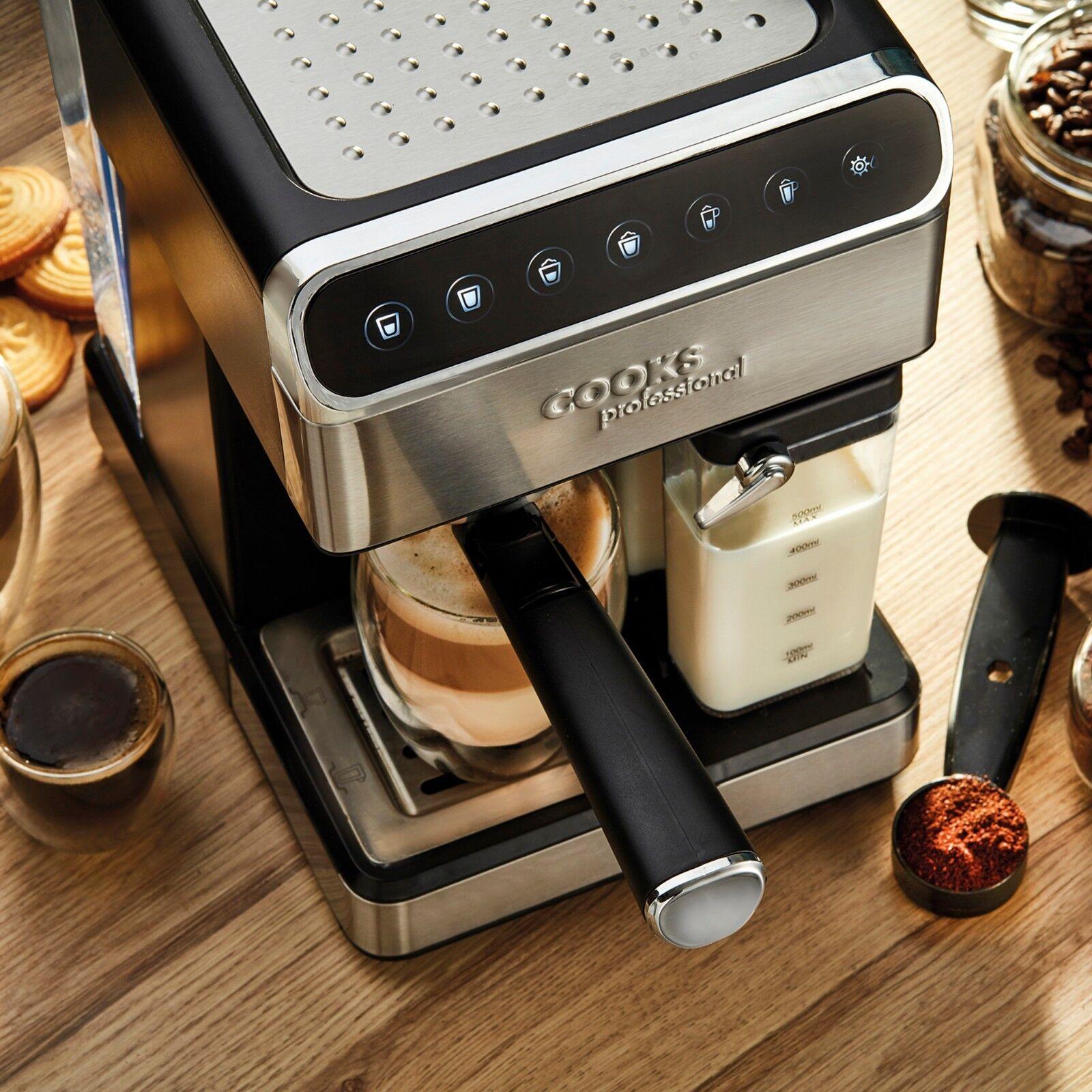 Details about Cooks Professional Espresso Coffee Machine Maker 15 Bar Digital Barista 1350W