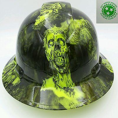 Full Brim Hard Hat Custom Hydro Dipped Osha Approved Bio Hazard Zombie New