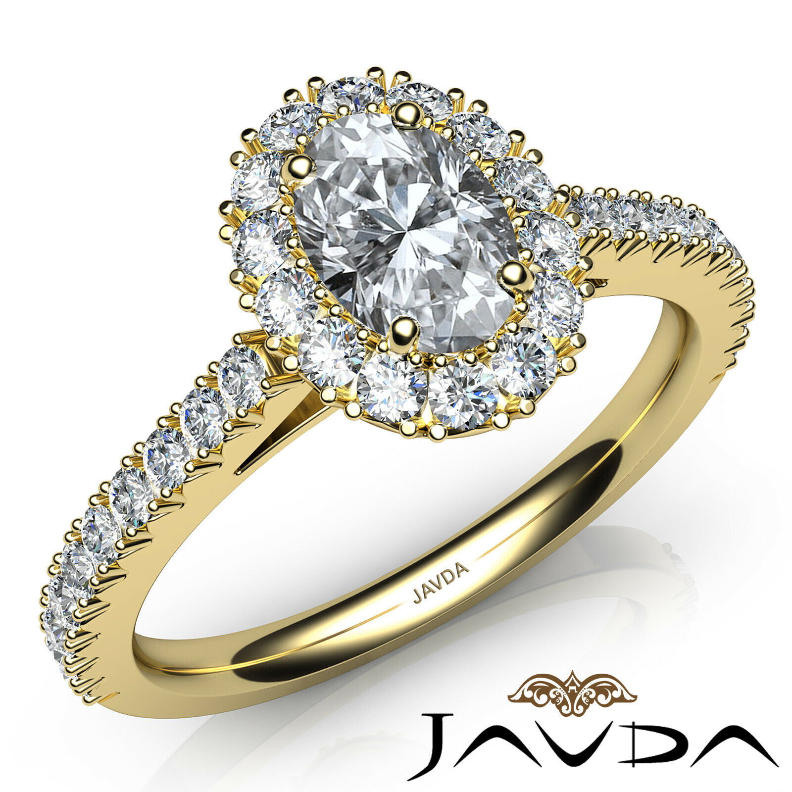 1.5ctw French V Cut Halo Pave Oval Diamond Engagement Ring GIA F-VVS2 White Gold 8
