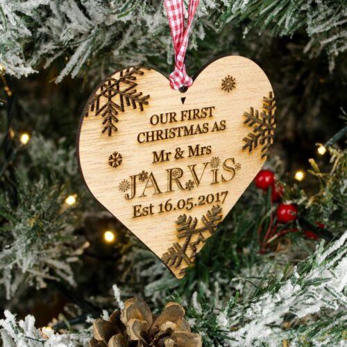 Mi primera 1st Árbol De Navidad Adorno Decoración de Madera Corazón 1st Presente Regalo De Navidad