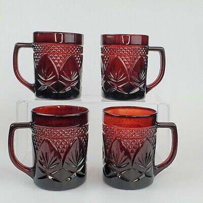 Ruby Red PRESSED GLASS Diamond & Leaf Pattern 4 Coffee Mugs 8 oz