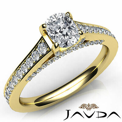 Bridge Accent Pave Cushion Diamond Engagement Cathedral Ring GIA H VS2 1.25 Ct