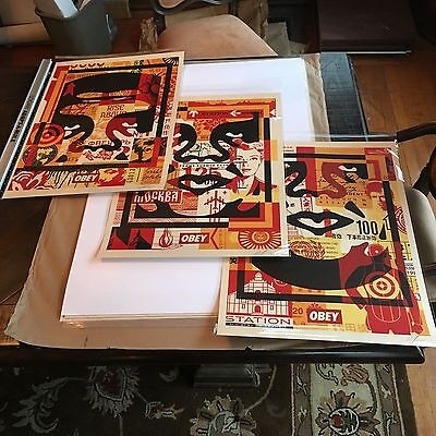 OBEY Giant Shepard Fairey Obey 3 Face Collage Litho Set Signed Full Set!