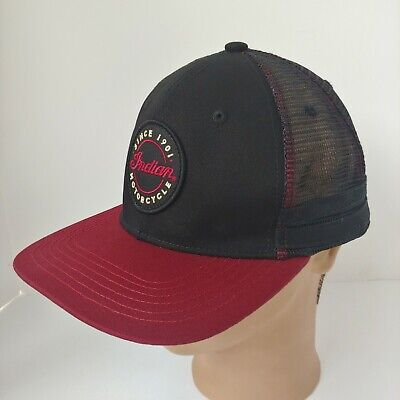 Indian Motorcycle Hat Patch Cap Black Red