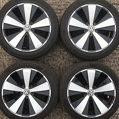 "Genuine VW Beetle 18"" Twister Alloy Wheels Tyres 235 45 Black Polished 5 Spoke"