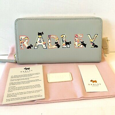 Springing Into Radley Letters Large Purse Leather Mint Green Card Wallet