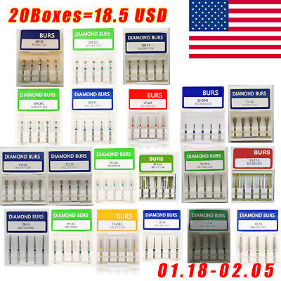 100pcs Dental Diamond Burs For High Speed Handpiece Fg 1.6mm 20 Boxes From Us Di