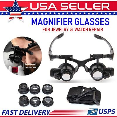 Magnifier With Light - Jewelry Watch Repair Double Eye Magnifier Loupe Glasses With LED Light 8 Lens