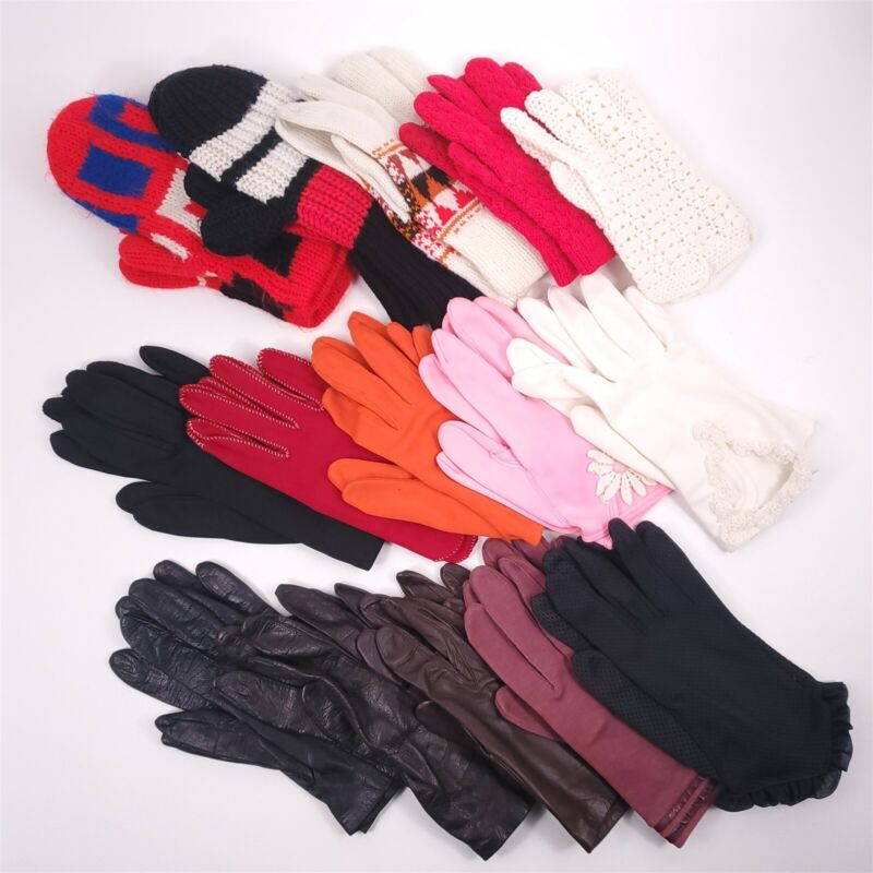 15 Pairs Ladies Vintage Glove Lot Small s/m Leather Church 1970