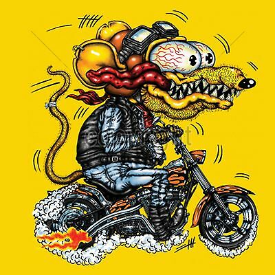 Rat Bike T Shirt Cartoon Retro Fink Ratty Bobber Funny Small to 6XL and Tall
