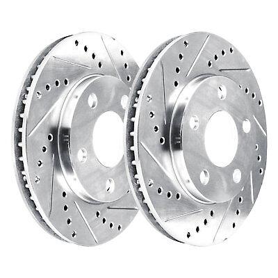 - [2 FRONTS]  2 Platinum Hart *DRILLED & SLOTTED* Front Disc Brake Rotors - 1341