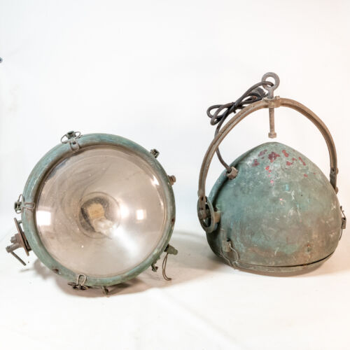 Pair Vintage Copper Industrial Novalux Projector Spotlight General Electric MCM