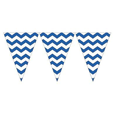 9ft True Blue White Chevron ZigZag Pennant Party Flag Banner Bunting Decoration (White Pennant)