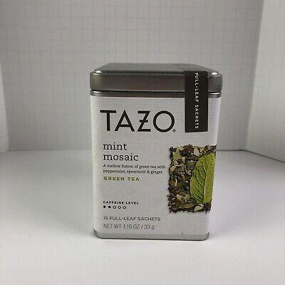 Tazo Mint Mosaic Green Tea Tin 15 Full Leaf Sachets Best Before 5/8/19