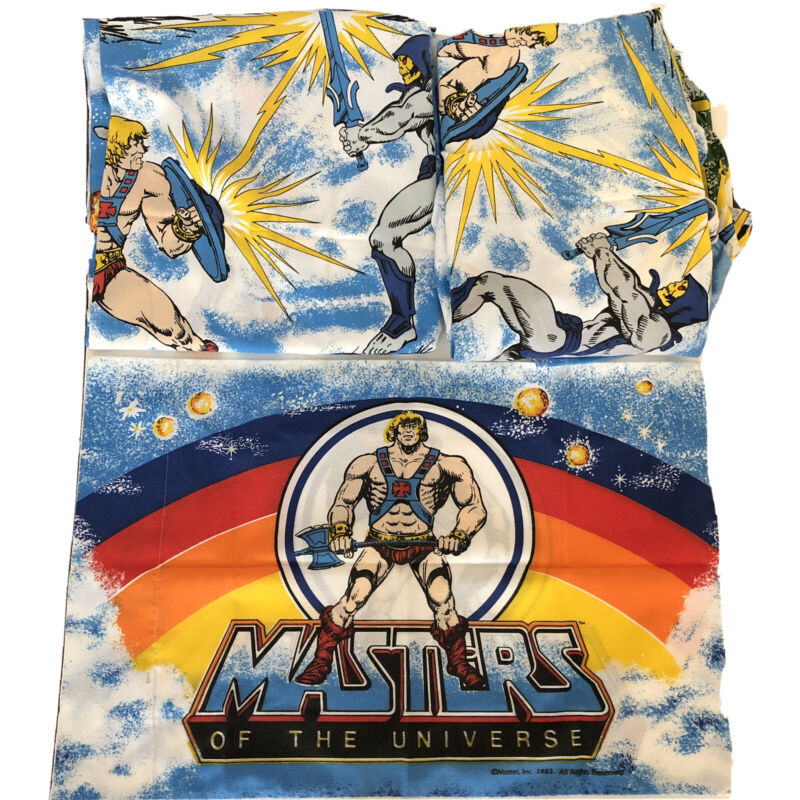 Vtg 1983 Masters Of The Universe HE MAN Twin Bed Sheet Set Fit Flat Pillow Case
