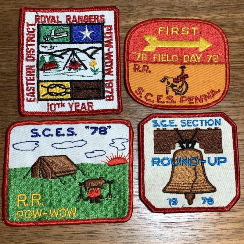 Vintage Royal Rangers Patch Badge Lot of 4 1978 SCES Round Up Pow Wow Field Day