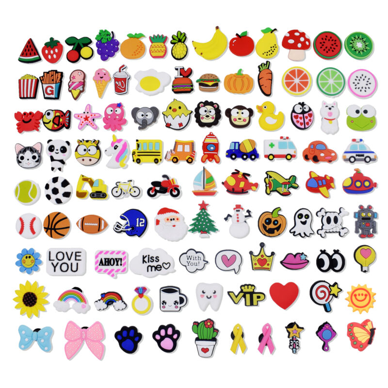 US Stock 100pcs PVC Shoe Charms Child Gifts All Kinds Of Mixed Different Shapes