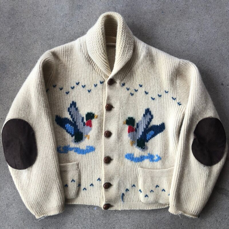 Vintage Cowichan Sweater 40s 50s Cardigan Hand Knit Hunting Ducks Elbow Pads
