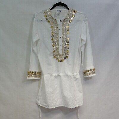 JULIET DUNN WHITE  cotton-voile mini dress / beach cover kaftan 1