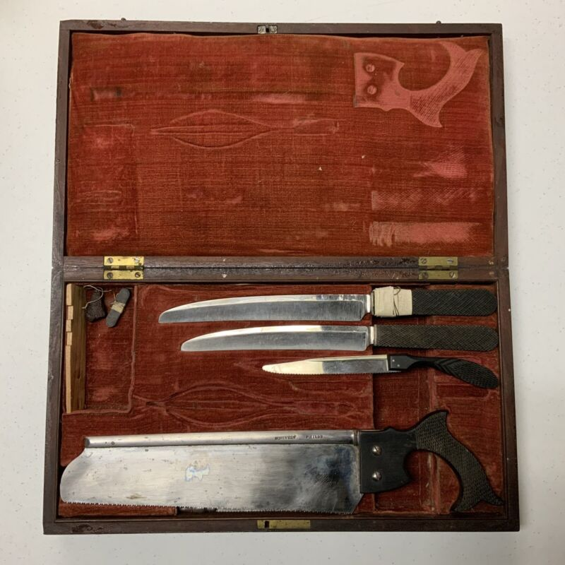 ANTIQUE SCHIVELY PRE-CIVIL WAR AMPUTATION SET SAWS KNIVES IN BOX
