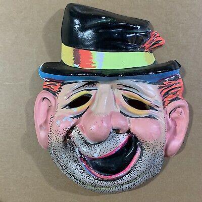 Vtg Ben Cooper/Collegeville Hobo Clown Tramp Mask Vacuform Day Glow Halloween