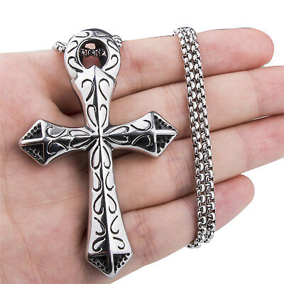 Mens Large Silver Ankh Cross Symbol Of Life Stainless Steel Pendant Necklace