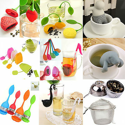 (Best 8Styles Mr.Tea Silicone Infuser Loose Tea Leaf Strainer Herbal Spice Filter)