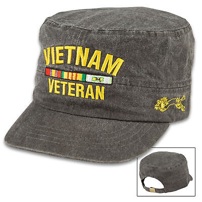 US Military Army Vietnam Veteran Hat Navy Marine Flat Top Ball Cap Adjustable