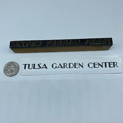 Vintage Tulsa Garden Center Advertising Letterpress Block Print Stamp 6 X 38