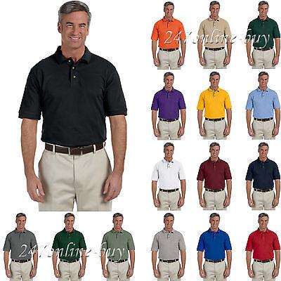 Harriton Men's Three Button 100% Cotton Short Sleeve Pique Polo Shirt - M200 Harriton 100% Pique